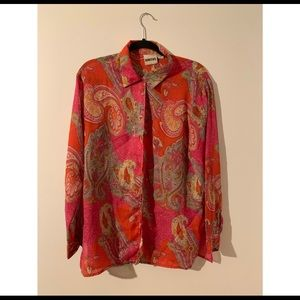 KAKTUS red and pink pattern button down top